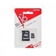 Карта памяти MicroSDHC 16GB Class 10 Smart Buy+SD адаптер
